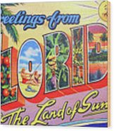 Greetings From Florida, The Land Of Sunshine Wood Print