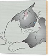 Grey And White Cat In Profile Graphic Wood Print