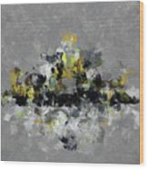 Grey And Yellow Abstract Cityscape Art Wood Print