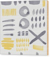 Grey And Yellow Shapes- Abstract Painting Wood Print