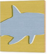 Grey And Yellow Shark Wood Print