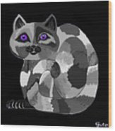 Grey Cat With Purple Eyes Wood Print