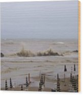 Grey Day At The Beach Wood Print