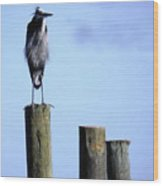 Grey Heron On A Pole Wood Print