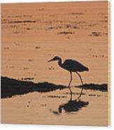 Grey Heron Sunset Wood Print