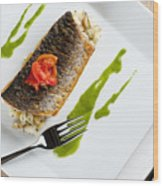 Grey Mullet With Watercress Sauce Presented On A Square White Plate With Cutlery And Napkin Wood Print by Andy Smy