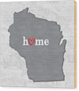 State Map Outline Wisconsin With Heart In Home Wood Print