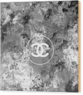 Grey White Black Chanel Logo Print Wood Print