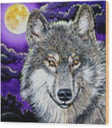 Grey Wolf And Full Moon Wood Print