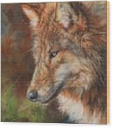 Grey Wolf Face Wood Print