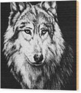 Grey Wolf Wood Print by Melodye Whitaker