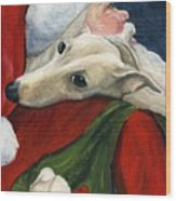 Greyhound And Santa Wood Print by Charlotte Yealey
