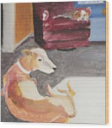 Greyhound And Spaniel Wood Print