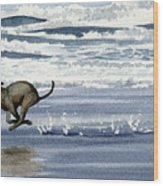 Greyhound At The Beach Wood Print