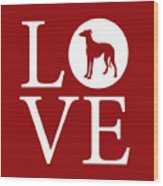 Greyhound Love Red Wood Print