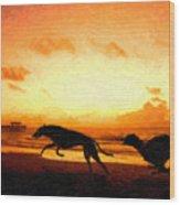 Greyhounds On Beach Wood Print