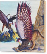 Griffins On Cliff Wood Print