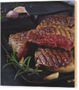 Grilled Beef Steak Wood Print