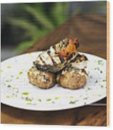 Grilled Fish With Roast Potato Herbs And Garlic Wood Print