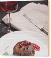 Grilled Steak Meat On The White Plate Wood Print