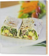 Grilled Vegetable And Salad Wrap Wood Print