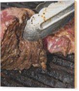 Grilling Steak Wood Print