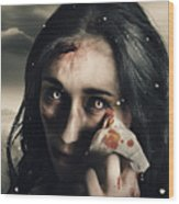 Grim Face Of Horror Crying Tears Of Blood Wood Print