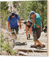 Grinding It Out On The Manitou Incline And Barr Trail Wood Print