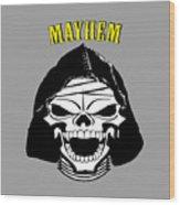 Grinning Mayhem Death Skull Wood Print