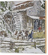 Grist Mill, 19th Century Wood Print