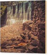 Grist Mill Water Fall Wood Print