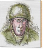 Gritty World War Two Soldier Wood Print by Aloysius Patrimonio