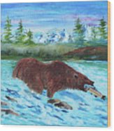 Grizzley Catching Fish In Stream Wood Print