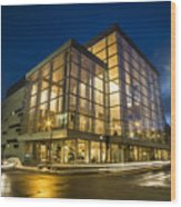Groovy Modern Architecture One Wintry Night Wood Print
