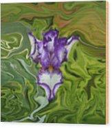 Groovy Purple Iris Wood Print by Rebecca Margraf