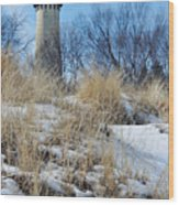 Grosse Point Lighthouse Winter Dunes Wood Print