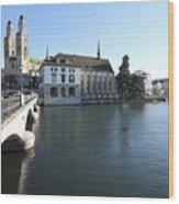 Grossmunster, Wasserkirche And Munsterbrucke - Zurich Wood Print