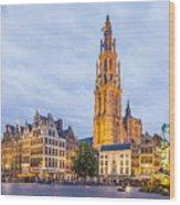 Grote Markt Square In Antwerp Wood Print