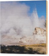 Grotto Geyser Eruption And Spray Wood Print