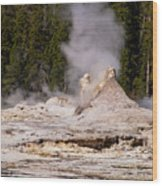 Grotto Geyser Eruption Two Wood Print