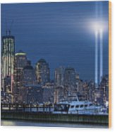Ground Zero Tribute Lights And The Freedom Tower Wood Print