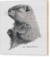 Groundhog Or Woodchuck Wood Print