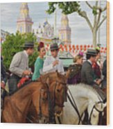 Group Of Couples On Horseback Drinking And Partying At The Sevil Wood Print