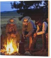 Group Of Cowboys Around A Campfire Wood Print