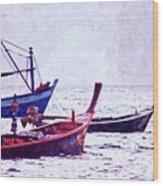 Group Of Fishing Boats Wood Print