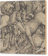 Group Of Seven Horses In Woods Wood Print