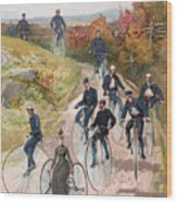 Group Riding Penny Farthing Bicycles Wood Print