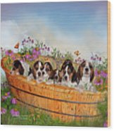 Growing Puppies Wood Print