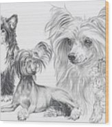 Growing Up Chinese Crested And Powderpuff Wood Print