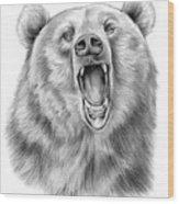 Growling Bear Wood Print